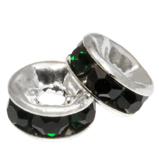 Rhinestone Spacers (4 x 2 mm) Dark Green (10 Stuks)