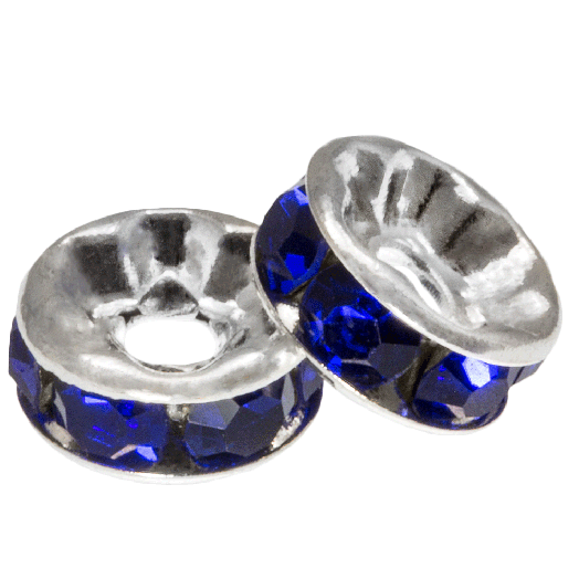 Rhinestone Spacers (8 x 4 mm) Dark Blue (10 Stuks)