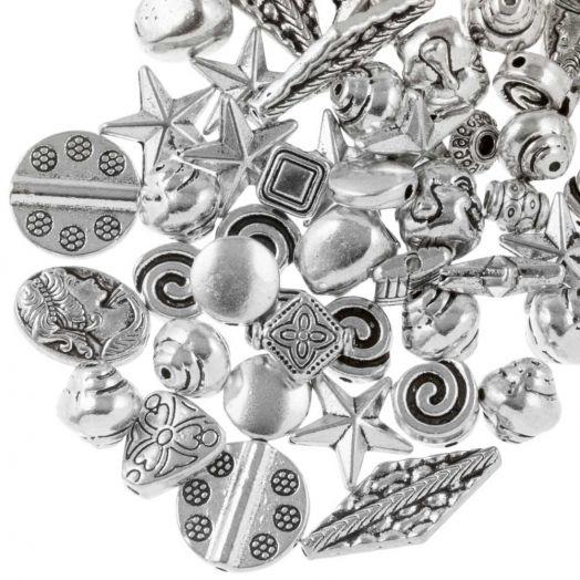 Voordeelpakket - Metalen Kralen (Diverse maten) Antiek Zilver (100 Gram)