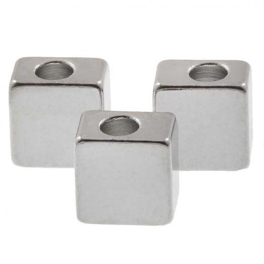 Metalen Kralen Kubus (5 x 3.5 mm) Antiek zilver (10 Stuks)