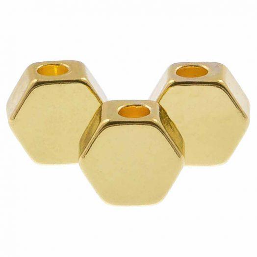 Metalen Kralen Hexagon (5 x 3 mm) Goud (10 Stuks)