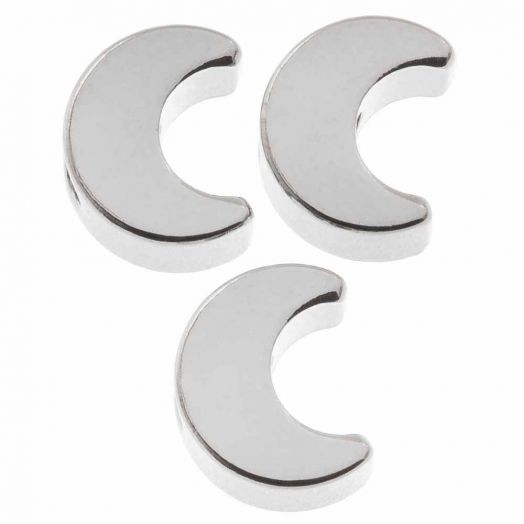 Metalen Kralen Maan (7 x 3.5 mm) Antiek zilver (10 Stuks)