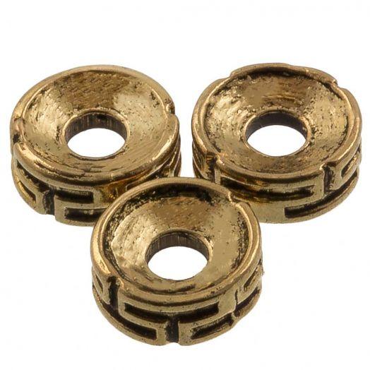 Metalen Kralen (7.5 x 3 mm) Antiek Goud (25 Stuks)