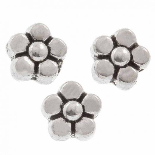 Metalen Kralen Bloem (6 mm) Antiek zilver (50 Stuks)