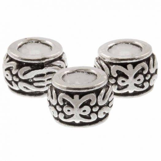 Metalen Kralen (7.5 x 5 mm) Antiek Zilver (50 Stuks)