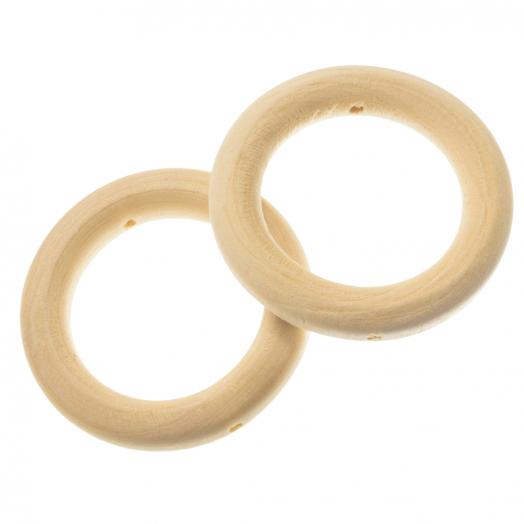 Blanke Houten Ring (45 x 8 mm, gat 30 mm, rijggat 2 mm) 10 stuks
