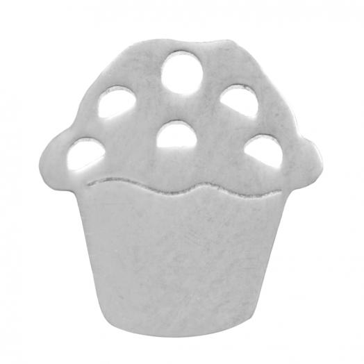 Stainless Steel Bedel Muffin (11 mm) Antiek Zilver (4 Stuks)