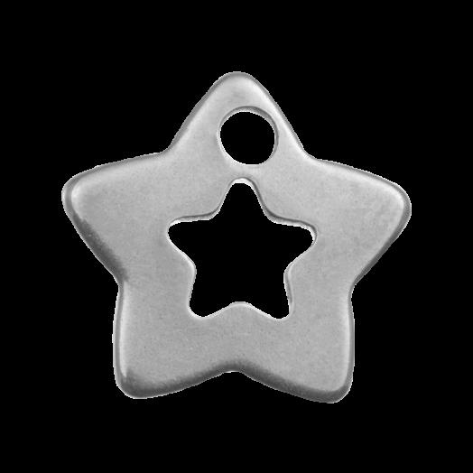 Stainless Steel Bedel Ster (12 x 11 mm) Antiek Zilver (20 Stuks)