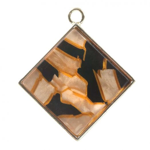 Hanger Acryl (29 x 26 x 4 mm) Orange Fire (3 Stuks)
