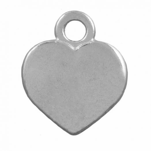 Bedel Hartje  (12 x 10 mm) Antiek Zilver (25 Stuks)