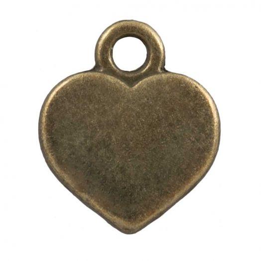 Bedel Hartje  (12 x 10 mm) Brons (25 Stuks)