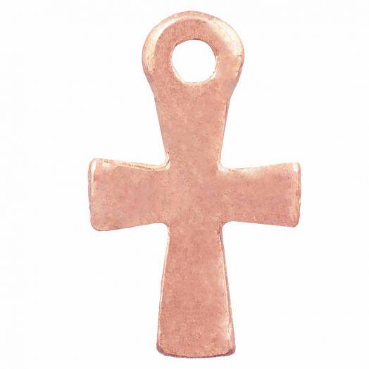 Bedel Kruis (12 x 7 mm) Rose Goud (25 Stuks)