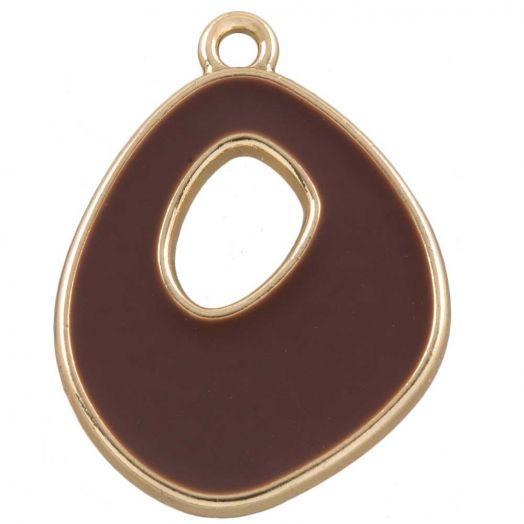 Hanger Enamel (27 x 20 mm) Coconut Brown (5 Stuks)