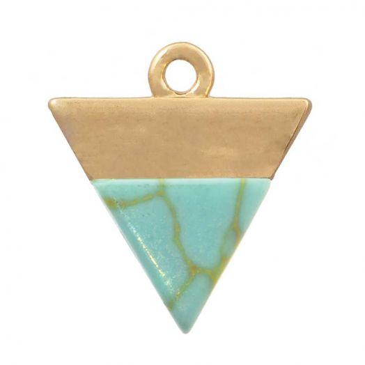 Bedel Natuursteen Turquoise (13 x 12 mm) Verguld Goud (1 Stuk)