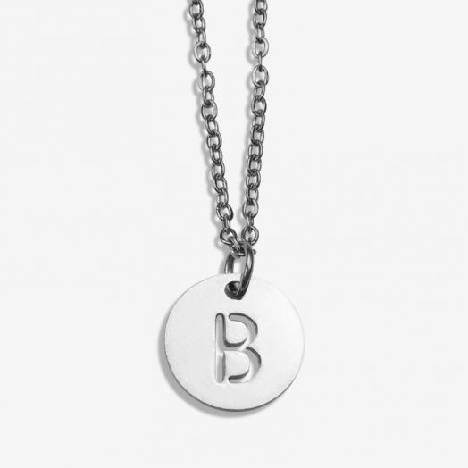 Stainless Steel Ketting Letter B (45 cm) Antiek Zilver (1 stuks)