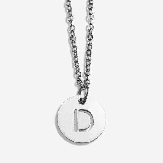 Stainless Steel Ketting Letter D (45 cm) Antiek Zilver (1 stuks)