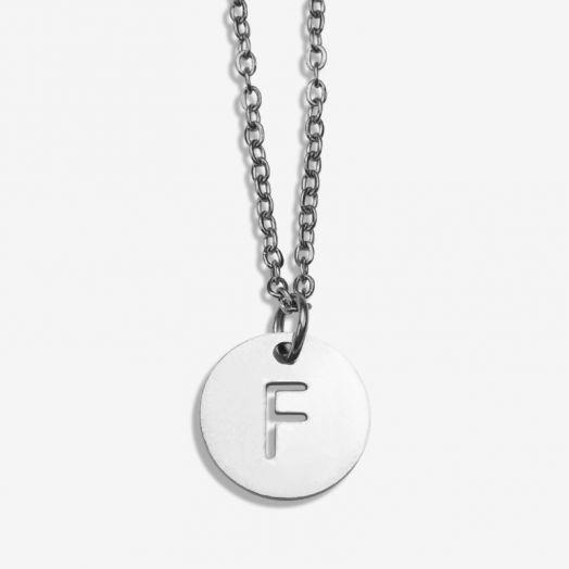 Stainless Steel Ketting Letter F (45 cm) Antiek Zilver (1 stuks)
