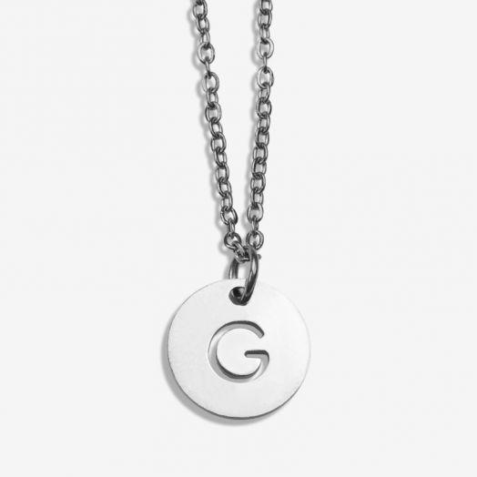 Stainless Steel Ketting Letter G (45 cm) Antiek Zilver (1 stuks)