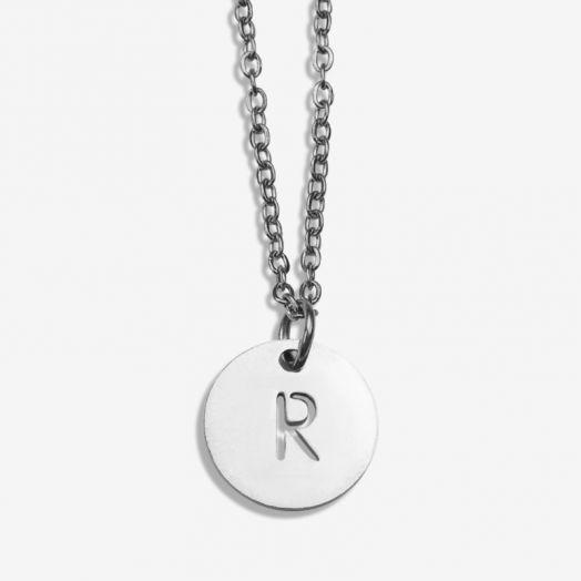 Stainless Steel Ketting Letter R (45 cm) Antiek Zilver (1 stuks)
