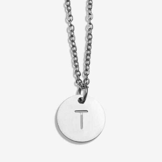 Stainless Steel Ketting Letter T (45 cm) Antiek Zilver (1 stuks)