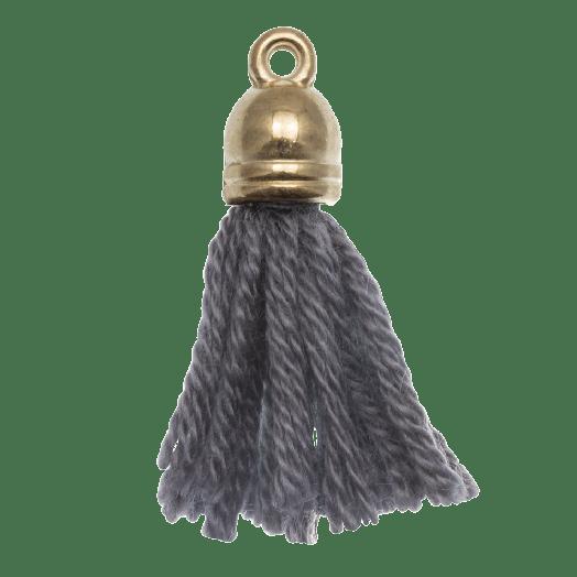 Kwastjes (20 mm) Porpoise Grey / Goud (5 Stuks)