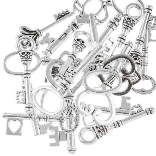 Voordeelpakket - Hanger Mix Sleutels (diverse maten) Antiek Zilver (30 Stuks)