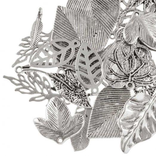 Voordeelpakket - Hanger Mix Blaadjes (diverse maten) Antiek Zilver (130 Stuks)