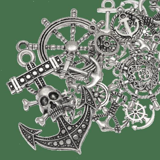 Voordeelpakket - Bedelmix Anchor (diverse maten) Antiek Zilver (60 Stuks)