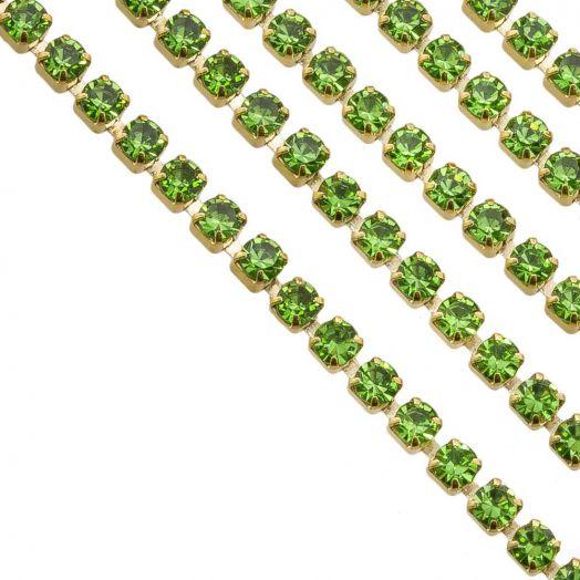Stainless Steel Rhinestone Ketting (2 mm) Green / Goud (2 Meter)