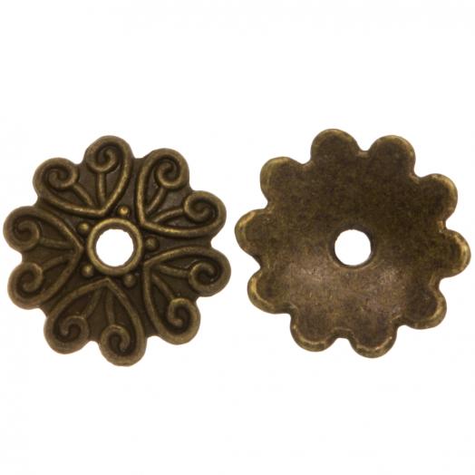 Beadcap (11 x 2 mm) 25 Stuks (Brons)