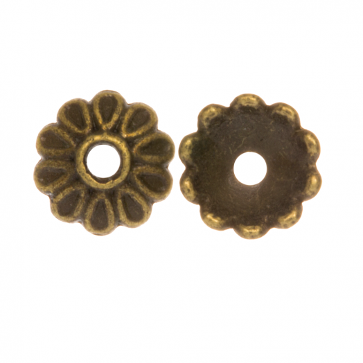 Beadcap (8 x 2.5 mm) 25 Stuks (Brons)