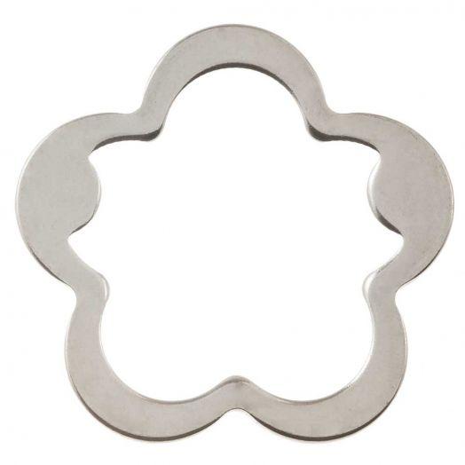 Stainless Steel Gesloten Ringen (buitenmaat 21.5 mm binnenmaat 17 mm) Antiek Zilver (5 stuks)