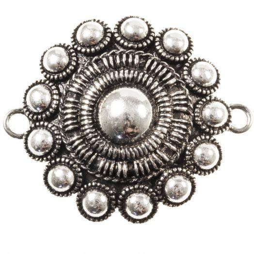 Zeeuwse Knop Tussenstuk 2 Ogen (44 mm) Antiek Zilver (1 stuk) Binnenmaat oogje 3 mm