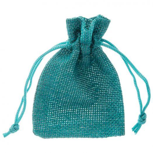 Jute Sieraden Zakjes (9 x 7 cm) Turquoise (10 Stuks)