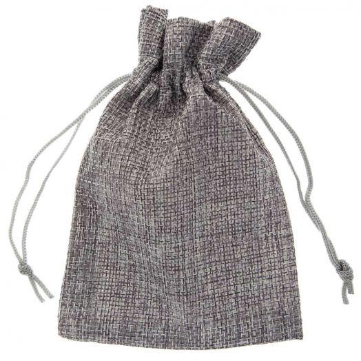 Jute Sieraden Zakjes (9 x 7 cm) Grey (10 Stuks)