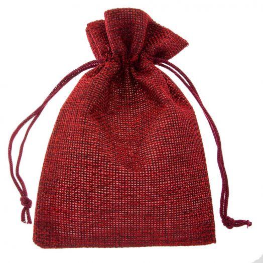 Jute Sieraden Zakjes (14 x 10 cm) Dark Red (10 Stuks)