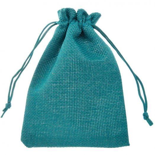 Jute Sieraden Zakjes (14 x 10 cm) Turquoise (10 Stuks)