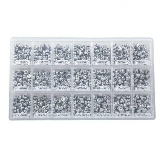 Voordeelpakket - Zilver Letterkralen Medeklinkers - 8 x 4 mm (50 kralen per letter)