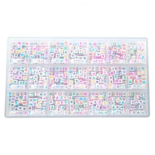 Voordeelpakket - Mix Color Letterkralen Medeklinkers - 6 x 6 mm (44 kralen per letter)