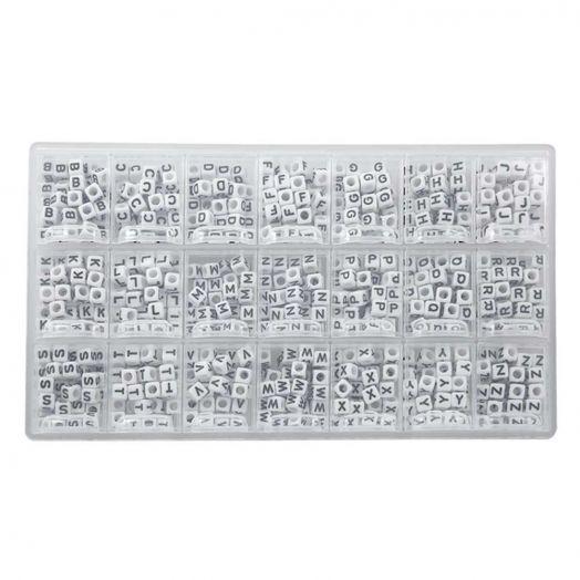 Voordeelpakket - White Letterkralen Medeklinkers - 6 x 6 mm (44 kralen per letter)