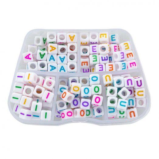 Voordeelpakket - Mix Color Letterkralen Klinkers - 6 x 6 mm (35 kralen per letter)