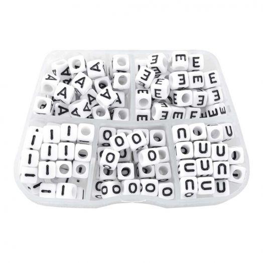 Voordeelpakket - White Letterkralen Klinkers - 6 x 6 mm (35 kralen per letter)