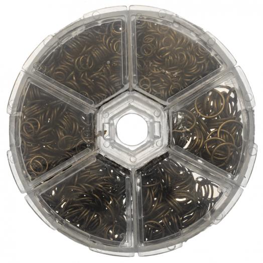 Voordeelpakket - Buigringen Box (6 verschillende maten / 4 tot 10 mm x 0.7 tot 1mm dikte) Brons (1600 Stuks)