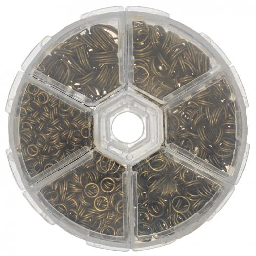 Voordeelpakket - Splitringen Box (6 verschillende maten) Brons