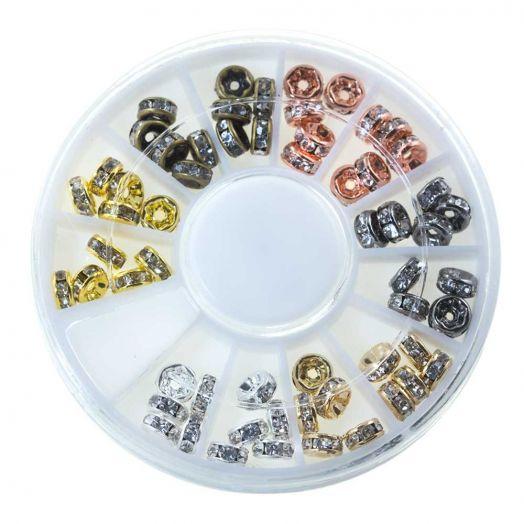 Voordeelpakket - Rhinestone Spacers (5 mm) Mix Color (6 x 10 stuks)