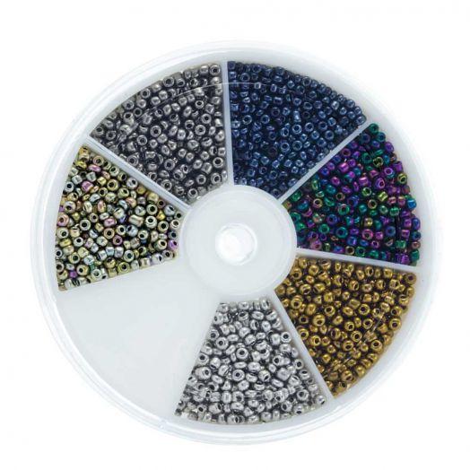 Voordeelpakket - Rocailles Elecotroplated glaskralen (2 mm) 'Mix Color'