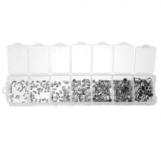 Voordeelpakket - Eindkapje (1 / 1,5 / 2 / 2,5 / 3,5 / 4,5 en 5 mm) Antiek Zilver (180 Stuks)