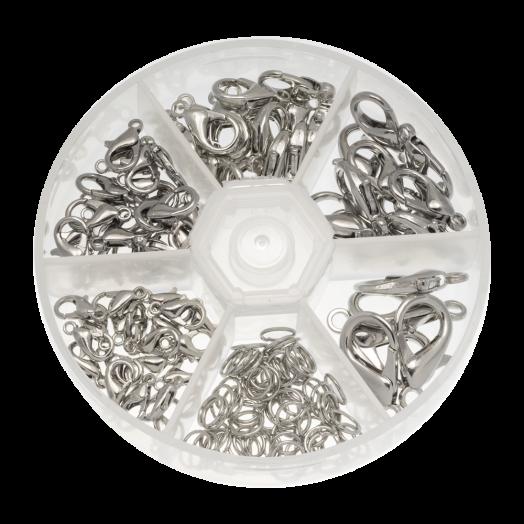Voordeelpakket - Karabijnslotjes met Oogjes (5 verschillende maten) Antiek Zilver