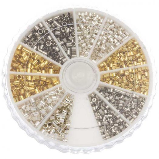 Voordeelpakket - Knijpkralen (binnenmaat 1 - 1.5 mm) Mix Color