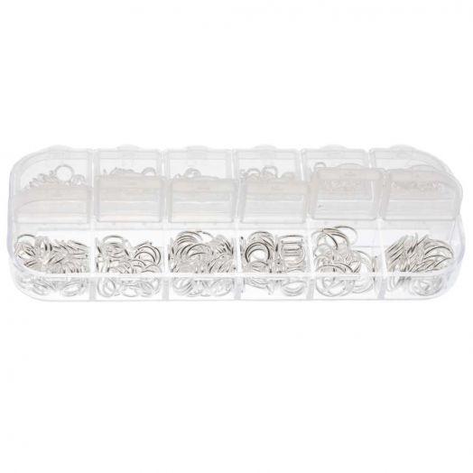 Voordeelpakket - Buigringen Box (6 verschillende maten / 4 tot 10 mm x 0.8 tot 1mm dikte) Zilver